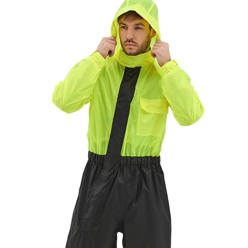 Ningjie Raincoat- Suit One-Piece Raincoat Rain Pants Motorcycle Electric Car Take-Out Raincoat Summer Ultra-Thin Breathable (Color : Fluorescent Yellow, Size : XL)