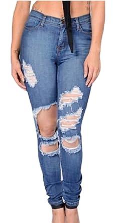 a3409a5a5c1db HTOOHTOOH Women Stretch Ripped Skinny Jeans Distressed Denim Pants 1 33