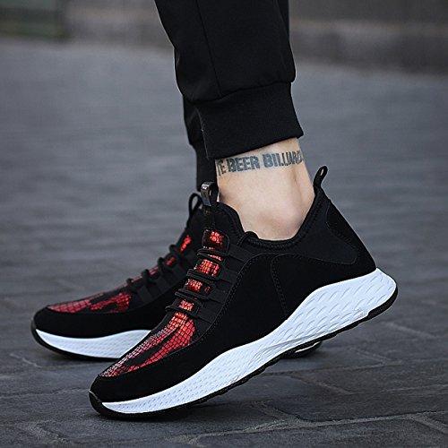 LFEU Chaussure de Sport Homme Sneakers Paillette Pour Jogging Running Basket Casuel Mode Antichoc Endurance 39-44 noir rouge tZDMi