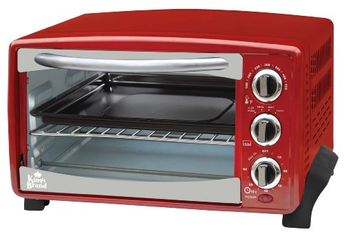 Kings Brand Red 6-Slice Toaster Oven- Toasts Bakes Broils Grills Roasts & Warming Oven (Toast Oven Grill compare prices)