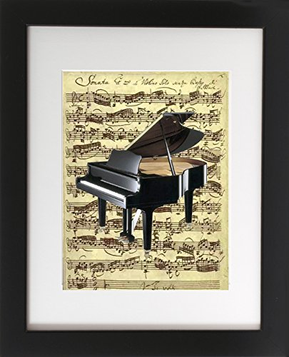 Piano on Sheet Music. Matted with Wood Frame 8