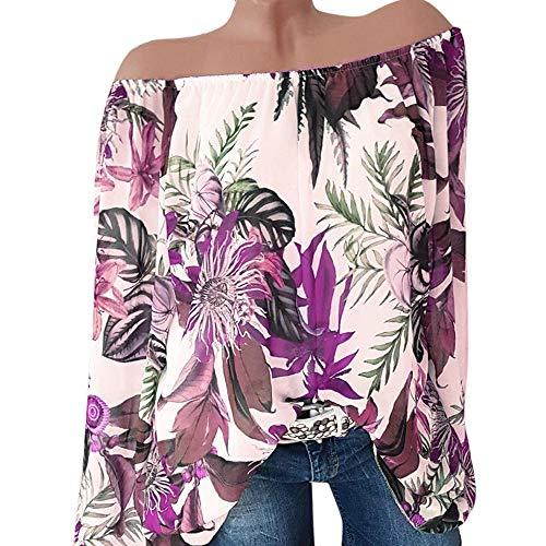 Blouse Tunique en Tops Bateau paule Imprim Casual T POTTOA a Uni Shirt Floral Sexy Blouse Col Taille Chic Hors Lace Manches de Ete Volant Les Plus Longues Femmes Violet Pullover Shirt Pull Shirt Couleur 1wq6EI