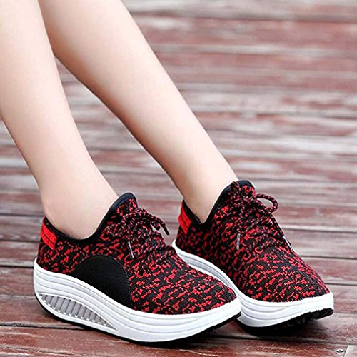 Light Wedge Trainers Sneakers Casual Shoes up Running Shoes Solshine Weight Heel Women's Red Lace Platform qpwvx1IUE