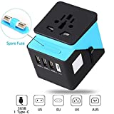 electrical adaptor type c - Universal Travel Adapter, Travel Power Adapter, All in One Travel Adapter with 3 USB & 1 Type-C 3.4A, International Power Adapter for US, UK, EU, AU, Over 170 Countries