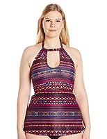 Jessica Simpson Women's Plus-Size Cherokee Queen High Neck Keyhole Tankini, Spice Multi, 2X