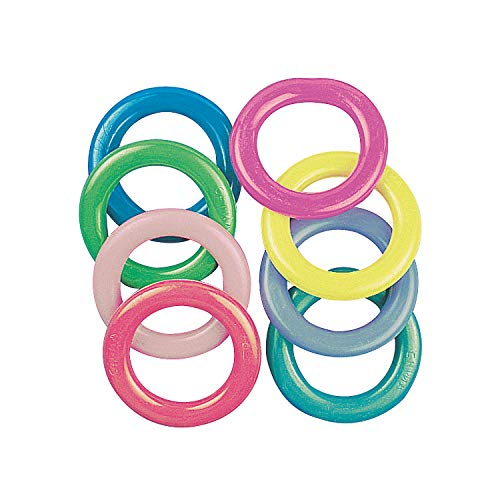 Fun Express Plastic Cane Rack Rings Party Supplies (4 Dozen), Assorted Colors -