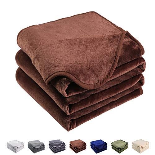 EMONIA Luxury Fleece Blanket,330GSM - Queen Size Blankets Super Soft Warm Fuzzy Lightweight Bed & Couch Blanket(Chocolate,90 x 90 -