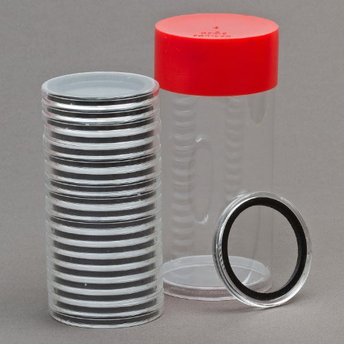 (1) Airtite Coin Holder Storage Container & (20) Black Ring 34mm Air-tite Coin Holder Capsules for 1/2oz Silver Maple Leafs