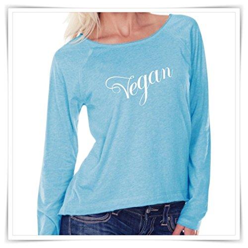(VEGAN. Women Sheer Jersey. Long Sleeve Raglan. Scoop Neck Shirt. )