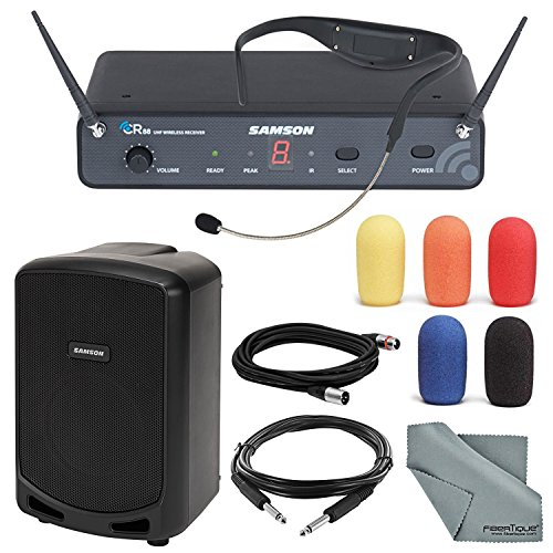 Samson AirLine 88 Headset UHF Wireless System (Channel D, 470-494 MHz) and Portable PA Speaker with Accessory Bundle ()