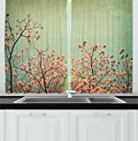 Cheap Ambesonne Flower Kitchen Curtains, Floral Details Trees Branches Spring Season Mountain Image Photograph, Window Drapes 2 Panels Set for Kitchen Cafe, 55W X 39L Inches, Reseda Green Peach Brown