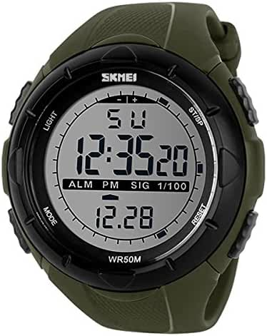 Child's Big Dial Water Resistant Watch Students LED Watches Boys and Girls Sports Wristwatch- Army