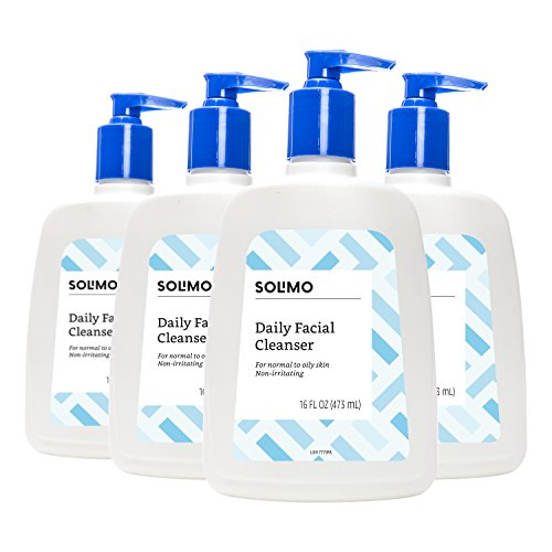 Face Wash Brands - Amazon Brand - Solimo Daily Facial Cleanser, Normal to Oily Skin, 16 Fluid Ounce (Pack of 4)