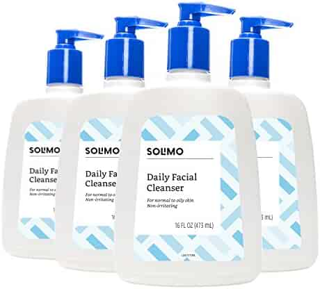 Amazon Brand - Solimo Daily Facial Cleanser for Normal to Oily Skin, 16 Fluid Ounce (Pack of 4)