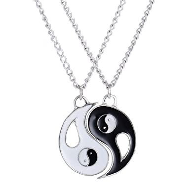 912a62e69 HUAMING Unisex Jewelry 2 Piece Tai Chi Yin Yang Pendant Puzzle Couple  Necklace for Mens Womens Friendship Cool Punk Style Valentine's Day (Black)  | Amazon. ...