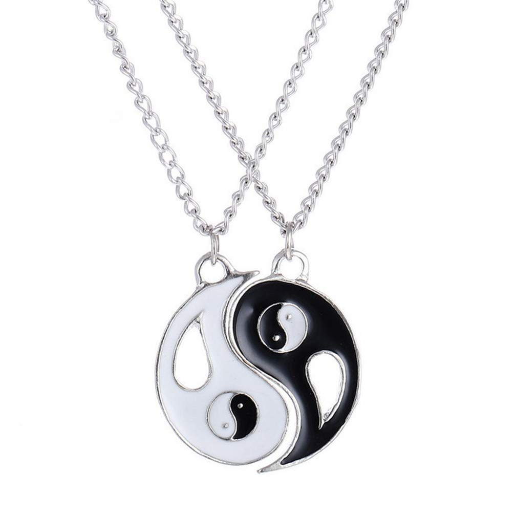 HUAMING Unisex Jewelry 2 Piece Tai Chi Yin Yang Pendant Puzzle Couple Necklace for Mens Womens Friendship Cool Punk Style Valentine's Day (Black)