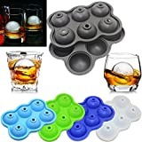 Hot Sale! 6 Holes Silicone Whiskey Ice Hockey Mold Ice Cube Tray With Lid, Stackable Miniature Ice Cube Tray for Mini Fridges, RV/Marine Freezers, Dorm Freezers and Small Freezers (E)