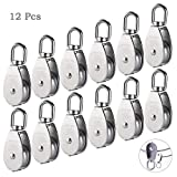 12Pcs Single Pulley Block (M15), AUHOKY 304 Stainless Steel Hanging Wire Towing Wheel, Swivel Lifting Wire Rope Cable Pulley Roller, Max-Load 35kg/77lbs