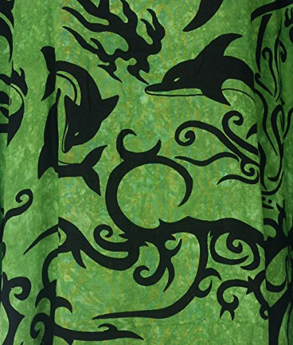 Tropicalsale Women's Plus Size Lovely Sun Dolphin Green Caftan Tunic Hippy Top