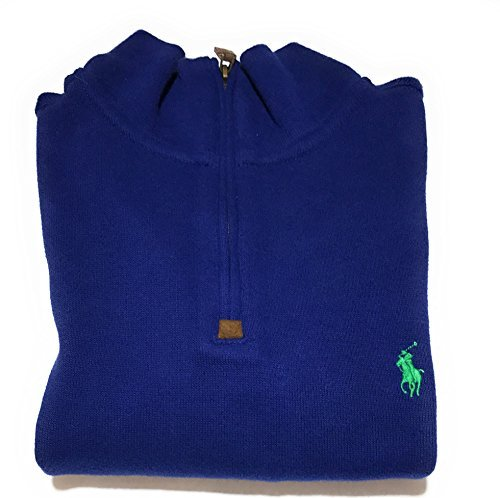 Polo Ralph Lauren Mens Half Zip French Rib Cotton Sweater (Small, Fall Royal/Green Pony)