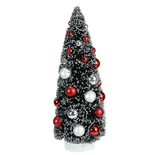 "Northlight 12"" Frosted Red and Silver Sisal Pine Artificial Christmas Table Top Tree"