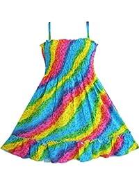 Sunny Fashion girls Girls Dress Rainbow Smocked Halter