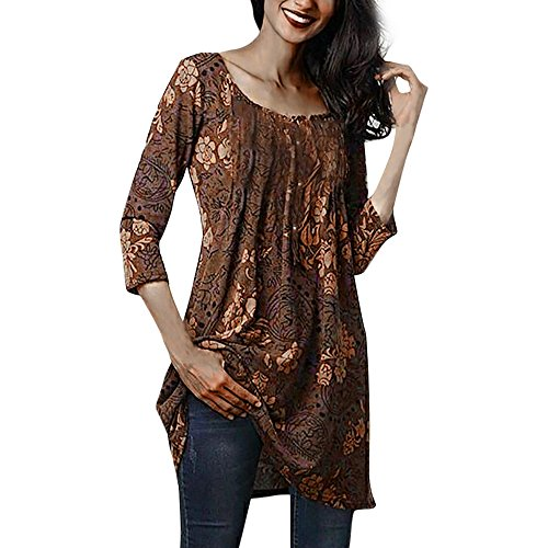 Elegant Blouse for Women Plus Size, Ladies Boho Printed 3/4 Sleeve Tunic Summer Casual T-Shirt Long Tops D-Brown