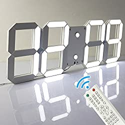 Pinty Multi-Functional Remote Control Large LED Digital Wall Clock with Countdown Timer Temperature Date (White Shell White Digital)
