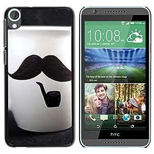 TopCaseStore / la caja del caucho duro de la cubierta de protección de la piel - Cute Moustache Cup - HTC Desire 820