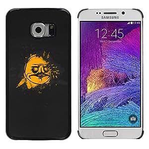 TopCaseStore / la caja del caucho duro de la cubierta de protección de la piel - Cool Funny Face Meme Black Gold - Samsung Galaxy S6 EDGE SM-G925