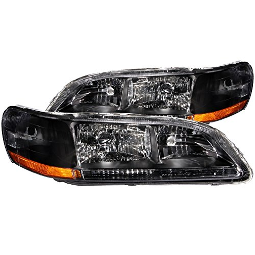 Anzo USA 121052 Honda Accord Crystal Black Headlight Assembly - (Sold in Pairs) (Honda Accord Crystal Headlights)