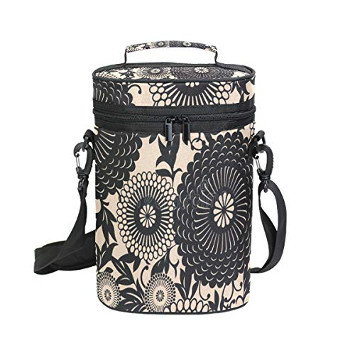 (Insulated Wine Carrier Oriental Floral Pattern Bottle Travel Padded Wine Carry Cooler Tote Bag with Handle and Adjustable Shoulder)