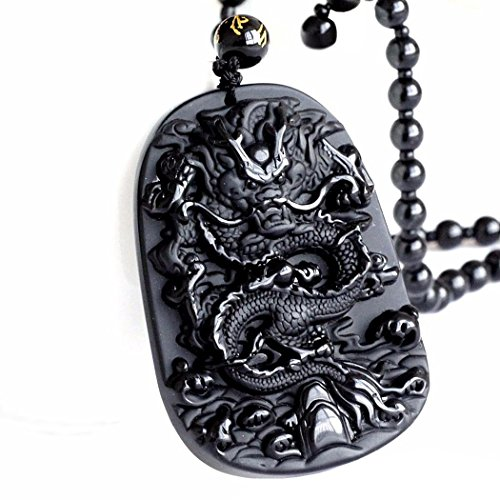 Black Natural Obsidian Crystal Oriental Dragon Shaped Pendant Necklace with Adjustable Rope