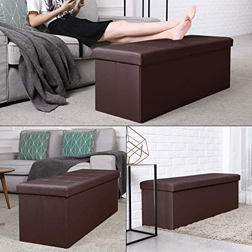 Homfa 43 Inches Collapsible Storage Ottoman Bench, Large Capacity 120L Folding Storage Chest Toy Box Padded Footrest Stool Seat for Bedroom, Living Room, Hallway, Brown