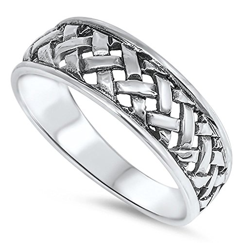 Women's Weave Basket Fashion Ring New .925 Sterling Silver Band Size 6