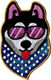 dog bandana sewing pattern - Super patch)110011 Super Cool Dog Sunglasses Bandana Husky Puppy Embroidered Iron On Patchby I.E.Y.