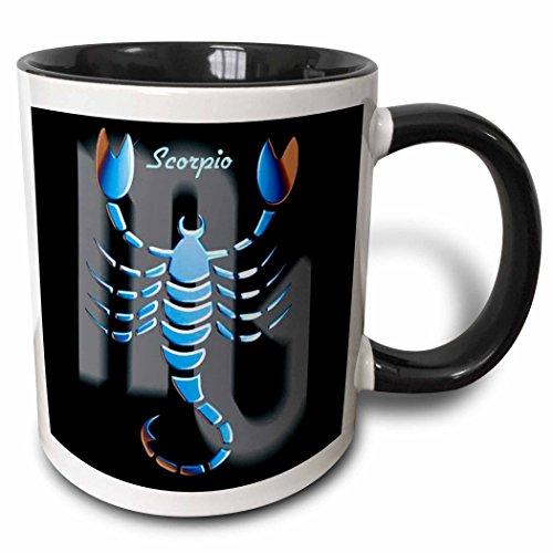 (3dRose 3dRose Scorpio Zodiac Sign - Two Tone Black Mug, 11oz (mug_925_4), Black/White)