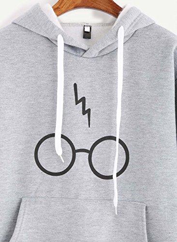 Minetom Mujeres Camisetas Manga Larga Varsity Gafas de Harry Potter Encapuchado Camisa de Entrenamiento Sudaderas Con Capucha Tops Gris