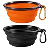 2-Pack Collapsible Travel Dog Bowl,MAXIN Silicone Cat Bowl Portable Pet Food Water Bowl, Foldable Expandable Cup Dish for Pets, FDA Approved.[ Black and Orange ]