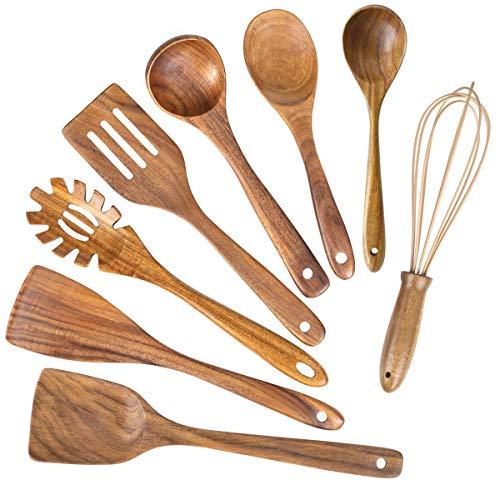 Wooden Kitchen Utensils for Cooking,Natural Teak Wood Utensil Set,Wooden Spoons for Cooking Nonstick Kitchen Utensils…