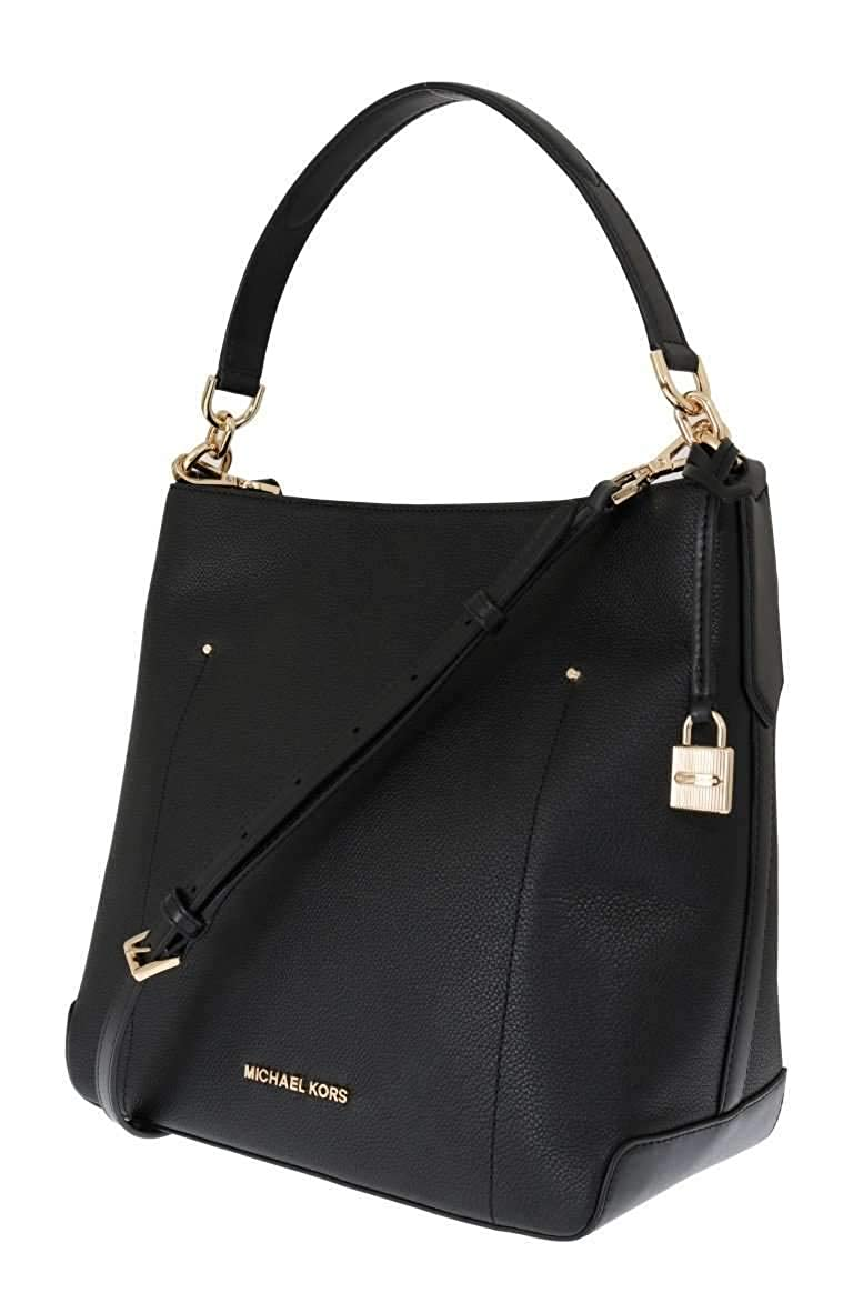 d6de1f430f96 Michael Kors Black Hayes Leather Bucket Shoulder Bag  Handbags  Amazon.com