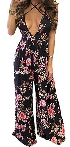 YeeATZ Women Sexy Deep V Low Cut Open Back Flower Print Holiday Jumpsuit - Harry London Truffles
