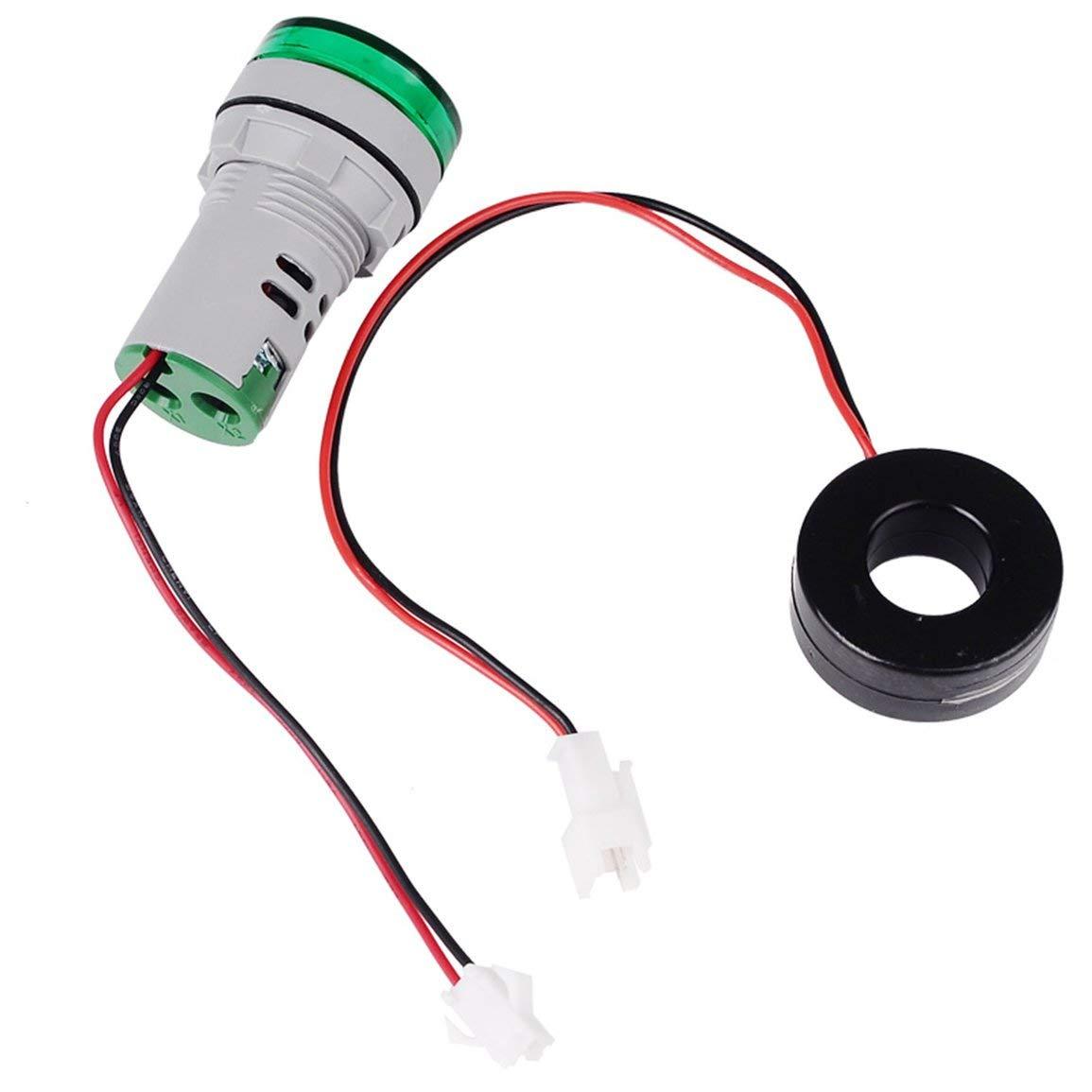 Color: negro y verde SINOTIMER 22mm LED redondo Diaplay 0-100A AC Indicador de corriente Piloto Piloto de luz Amper/ímetro probador Amper/ímetro Monitor