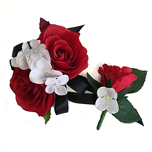 2pc Set of Wrist Corsage & Boutonniere -Rorse hydrangea-artificial flower (Red)