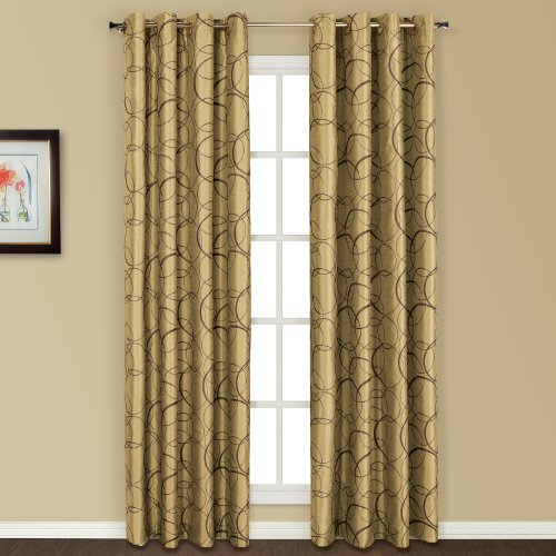 United Curtain Sinclair Embroidered Window Curtain Panel, 54 by 63-Inch, Apple For Sale