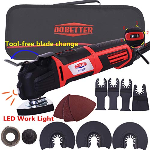 Dobetter Multi-purpose Oscillating Tool ,2.8-Amp 6 Variable Speed Oscillating Saw with Multi-Tool Saw Blades Set and Carry Bag -OT2832 (Oscillating Tool) -  Multi-Tool Kit
