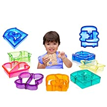 JBENG Sandwich and bread Cutter Shapes for Kids - Set of 9 High-Quality Crust & Cookie Cutters - Dinosaurs, elephants, butterflies, five-pointed star, puppy ,quadrilateral, puzzles, car, love by JBENG