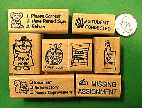 Teachers' Rubber Stamp Set of 8: Great timesavers! - Rubber Stamp Wood Carving Blocks by Wooden Stamps