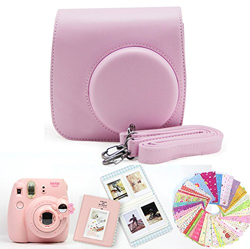 Gvirtue 4 in 1 compatible with Fujifilm Instax Mini 8 8+ 9 Instant Film Camera Accessories Bundles (Instax Mini 8 8+ 9 Case/Album/Close-up Selfie Lens/Film Stickers) Pink