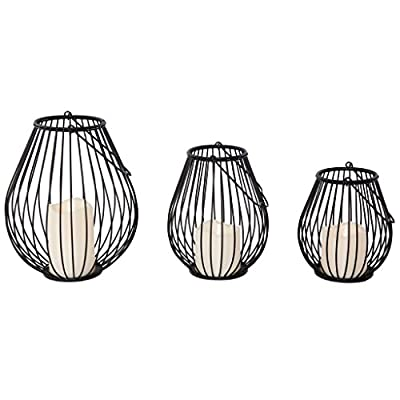 River of Goods 13521 Modern Set of 3 Iron Lanterns with Flameless Candles Indoor or Outdoor, Black